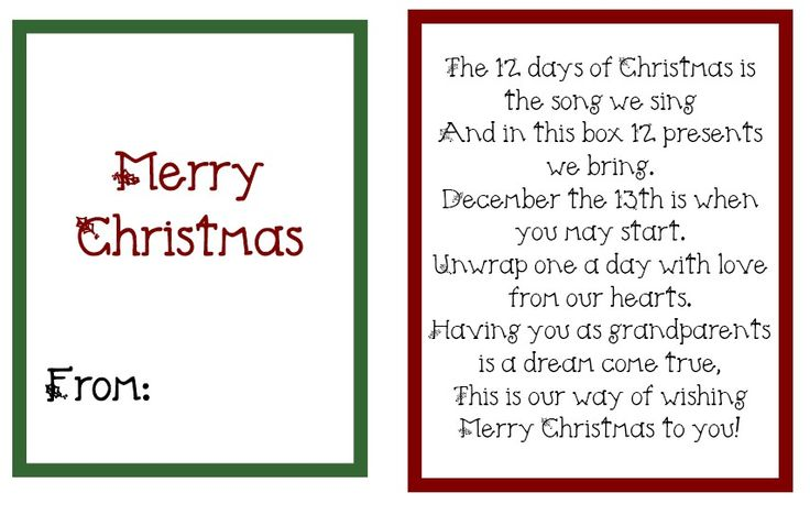 12 days of Christmas for grandparents