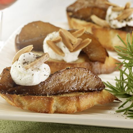 Balsamic-Glazed Pear and Goat Cheese Crostini | Recipe