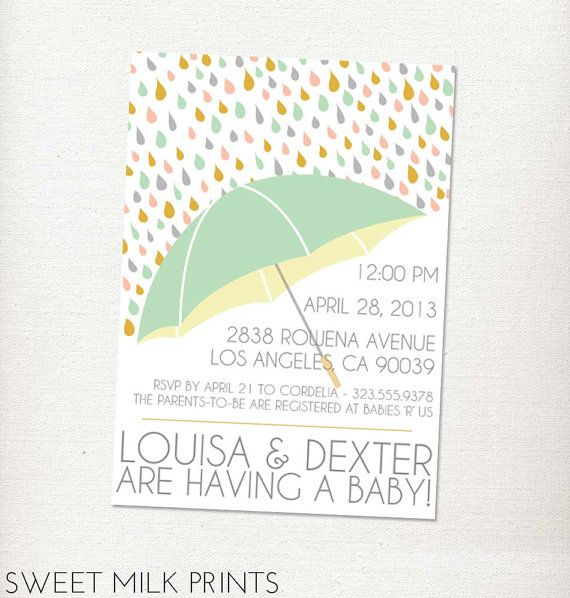 unisex raindrops umbrella printable coed baby shower invitation