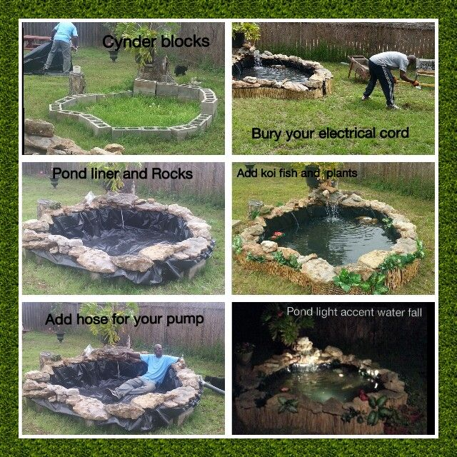 Koi pond steps to building a koi pond our first house for Make your own pond liner