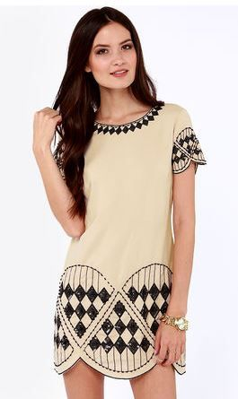 Pretty Beige Sequıin Dress