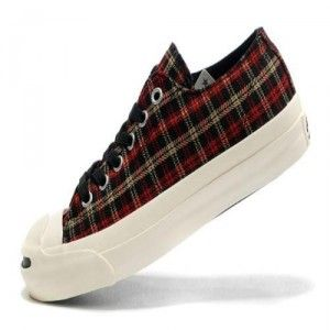 Converse Jack Purcell Womens Shoes Red Plaid Low Top Canvas