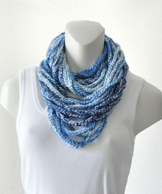 Crochet Chain : Crochet Chain Cowl Scarf Blue por TempoDesigns en Etsy, $20.00