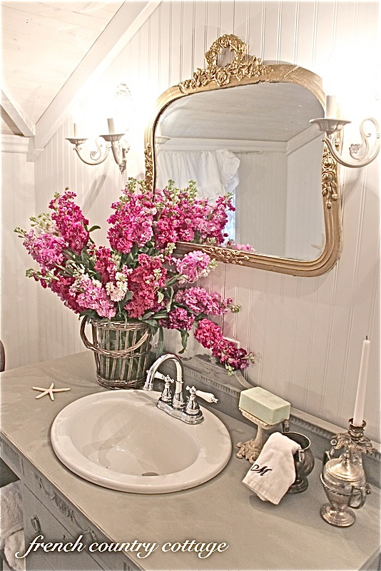 French Country Bathroom Makeover French Inspired Decor Pinterest