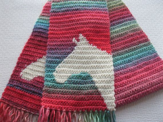 Colorful horse scarf. Crochet scarf with ivory horse head ...