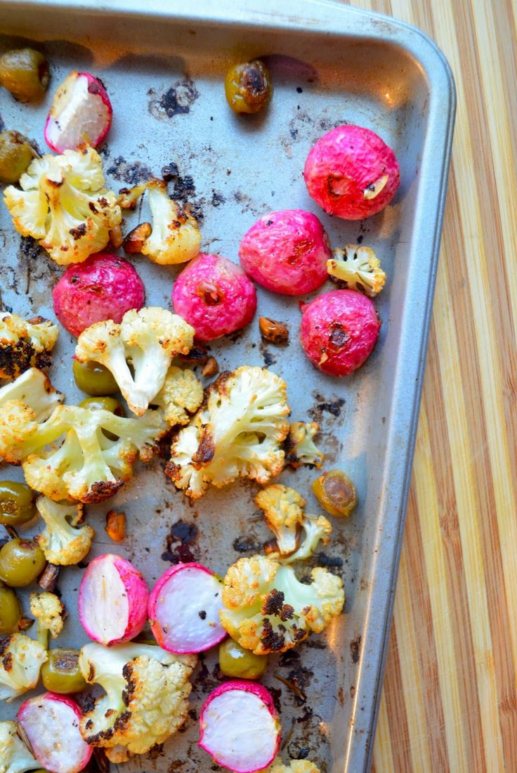 roasted cauliflower, radishes & olives | F O O D | Pinterest