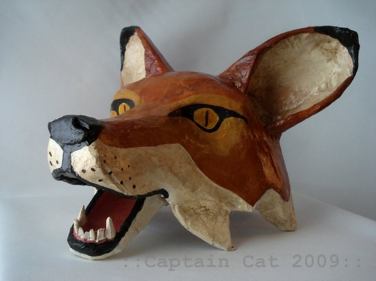 Fox mask original folk art by captaincat - Masque papier mache ...