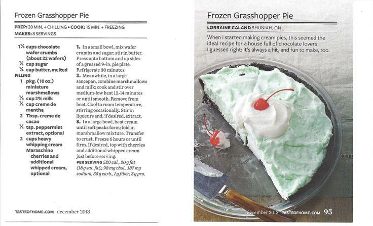 Frozen Grasshopper Pie ~ Taste of Home | Pie In The Sky | Pinterest