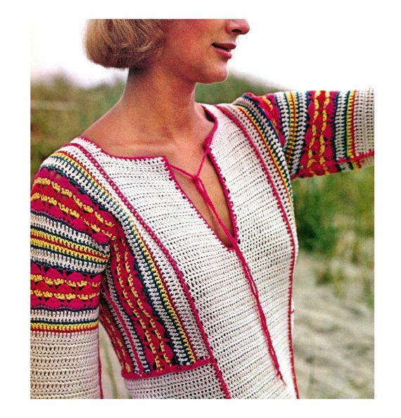 Boho Crochet Patterns : Vintage 1970s Crochet Pattern Crocheted Boho Maxi Dress Tunic Digital ...