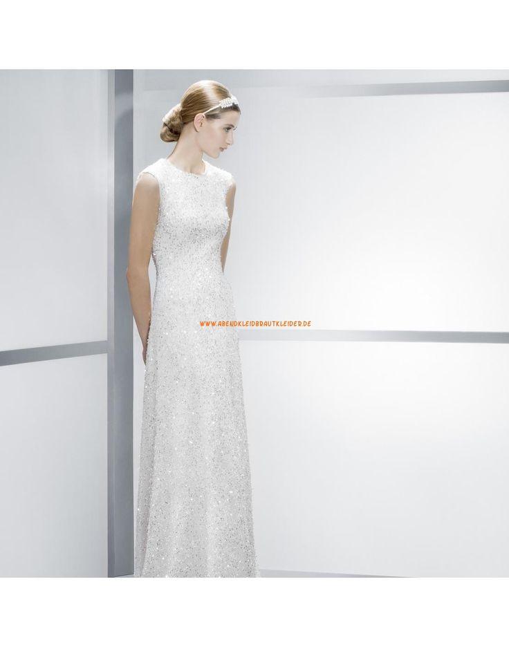 Glamouröse kolumne Rund-Ausschnitt Hochzeitskleider mit Pailletten ...