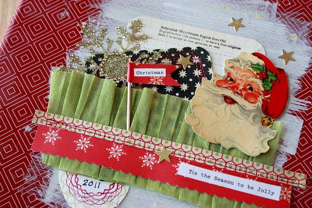 December Daily - gathered ruffle & toothpick flag!