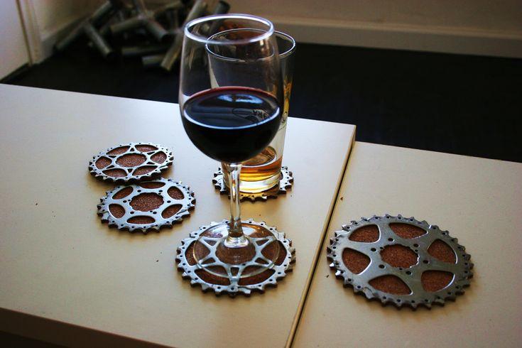 Bicycle Gear Cog Coasters, Set of 4 hand carved cork coasters. $22.00, via Etsy.