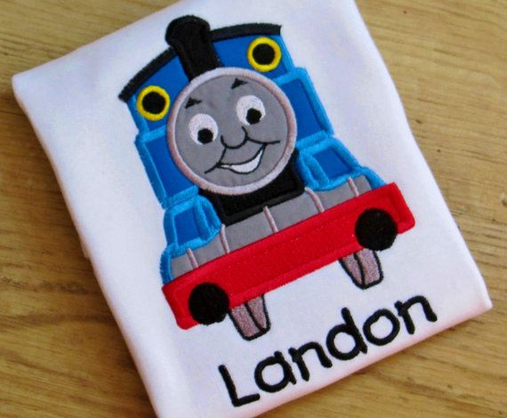 INSTANT DOWNLOAD Thomas The Train Birthday Number 5 Applique Design
