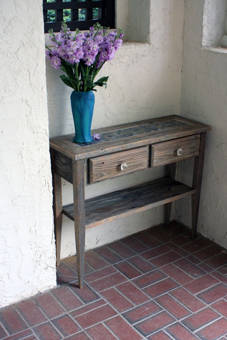 Small sofa entry table gray reclaimed wood rustic for Small sofa table
