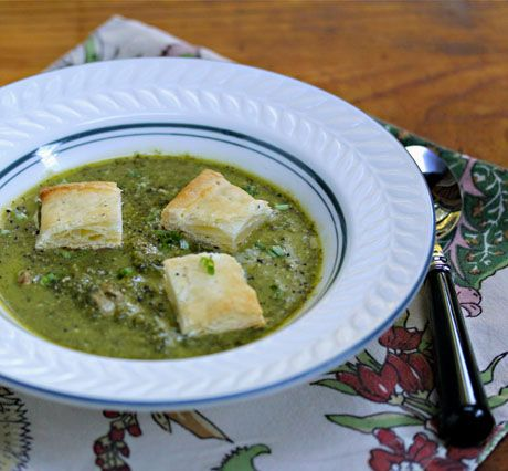 ... kale (or broccoli) soup with bacon and cheese, from The Perfect Pantry