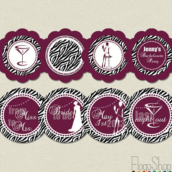 bachelorette party decorations printable stickers zebra