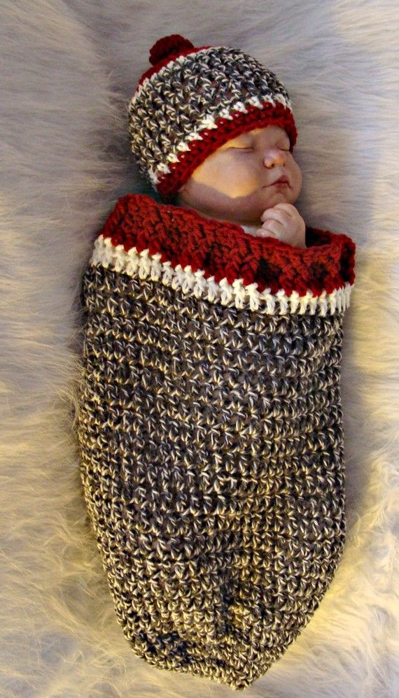 Knitting Pattern Baby Sock Monkey Hat : Sock Monkey Inspired Cocoon and Hat Crochet Pattern pdf520 Quick and