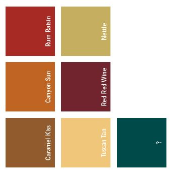 pittsburgh paints - canyon sun, tuscan tan & nettle