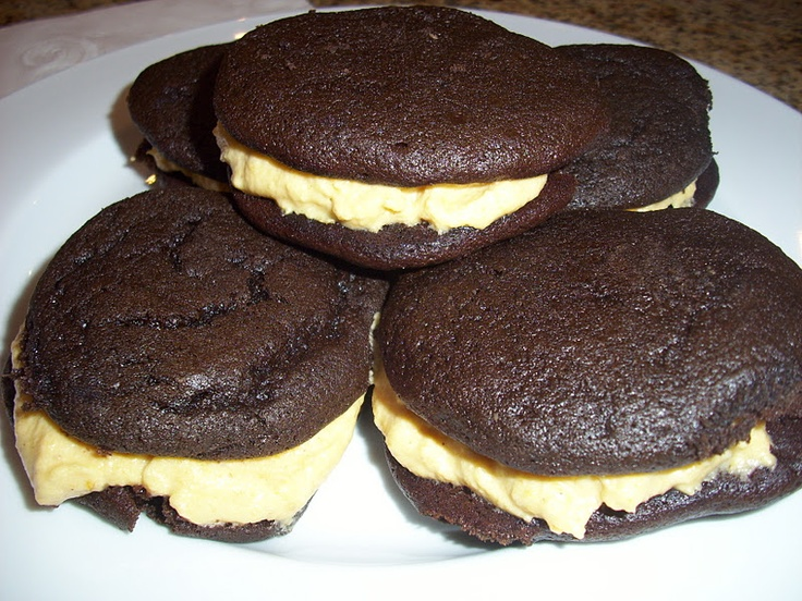 Chocolate Whoopie Pies with Pumpkin Cream Cheese Filling