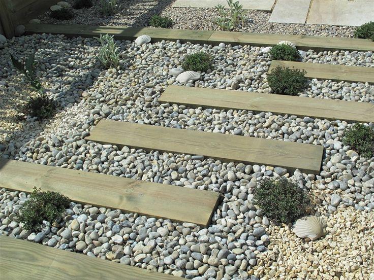 Sleeper gravel path garden ideas pinterest for Using sleepers in garden designs