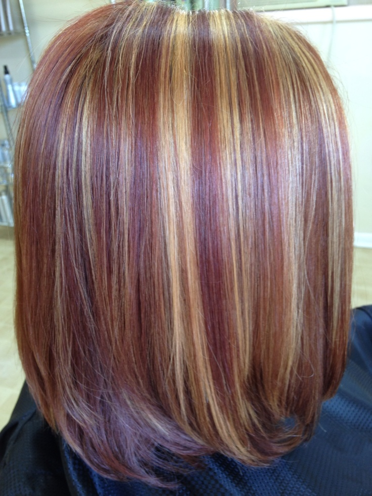 Copper And Red Highlight Extension   Dark Brown Hairs
