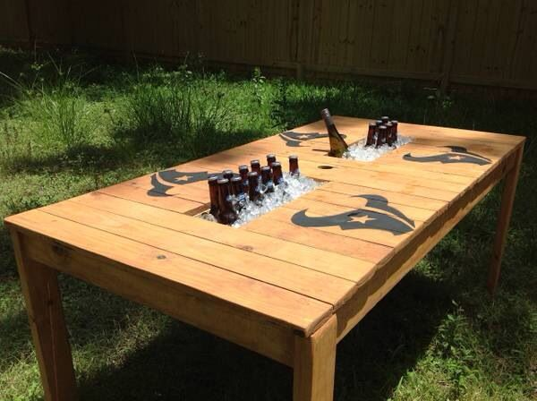 Outdoor table with cooler in middle crafty pinterest for Table with cooler in middle