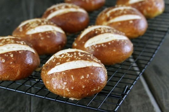 pretzel rolls: great for sliders, burgers or dipping into nacho cheese