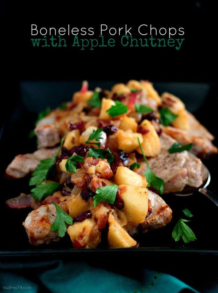 Boneless Pork Chops with Apple Chutney