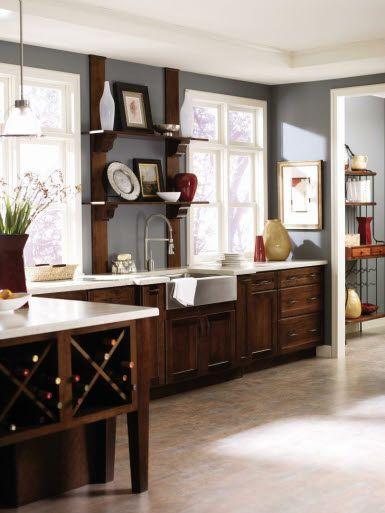 grey walls dark cabinets  Kitchen decor  Pinterest