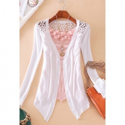 $6.38 Women's Cotton Voile Knitwear With Solid Color Long Sleeves Openwork Design