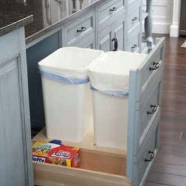 Hidden trash cans storage organization ideas pinterest for Trash can ideas for small kitchen