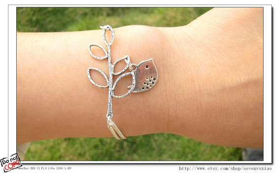 Adjustable  Silver branches  Bird Bracelet  Cuff by sevenvsxiao, $6.50