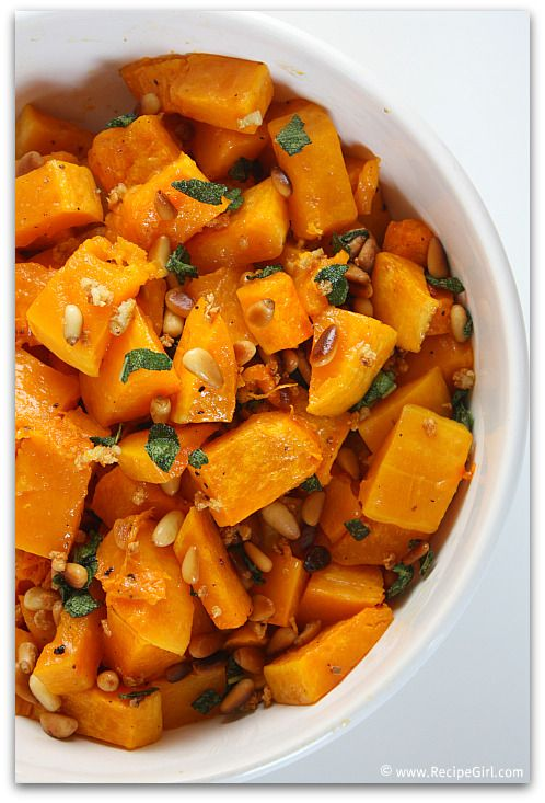roasted butternut squash with sage, garlic, and pine nuts