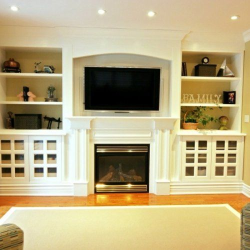White shelving fireplace tv lights ideas for my Built in shelves living room