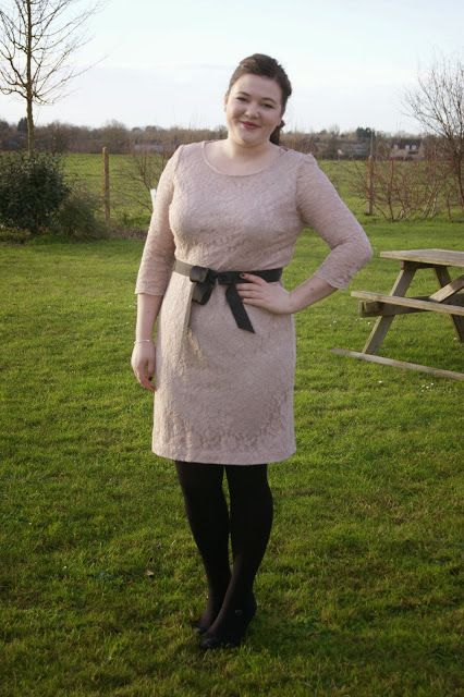 Christmas day outfit blush pink debut at debenhams lace dress via