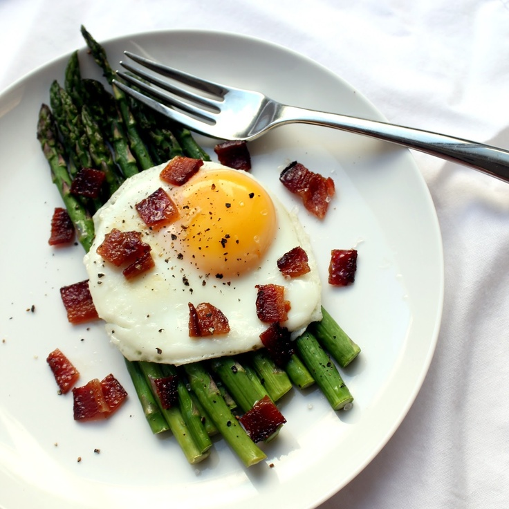 The Stay At Home Chef: Egg over Roasted Asparagus with candied Bacon