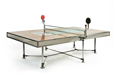 --Ping Pong table designed and built be Axel Yberg of Akke Functional Art, the table easily converts to a dining table by removing the 'net'.