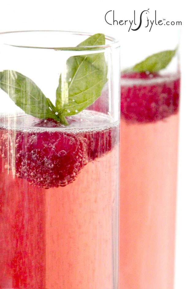 Basil & Raspberry Rose Champagne Cocktail | CherylStyle