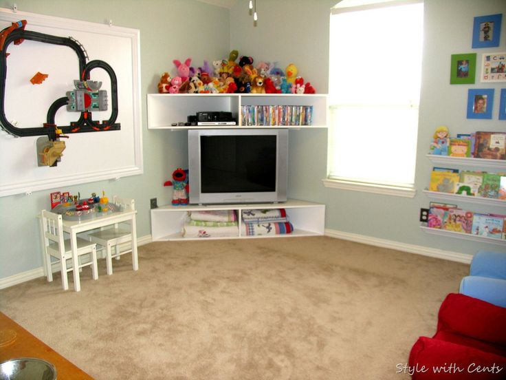 Corner tv set up more to do home loves pinterest - How to decorate kids playroom ...