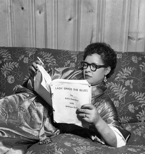 "Billie Holiday reading the sides for her upcoming autobiography ""Lady Sings the Blues"""