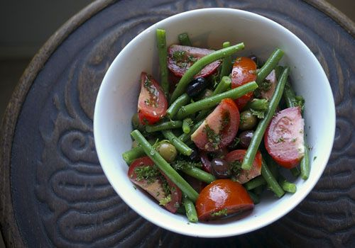 Green Bean & Tomato Salad...i would add sliced almonds and some pecans ...