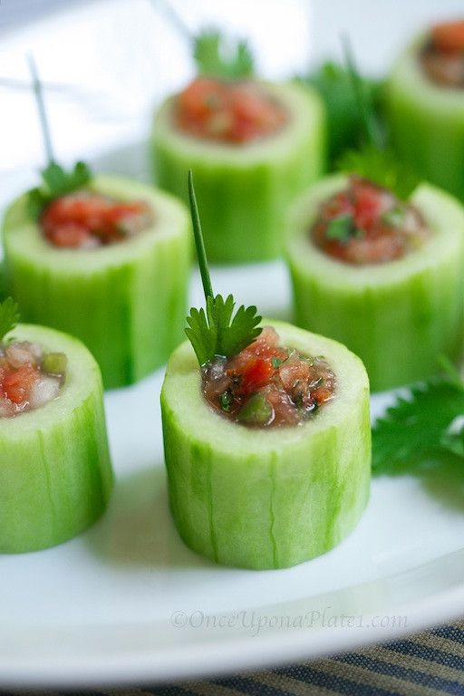 Cucumber Bites - Hollow out cucumbers and fill w favorites. Salsa ...