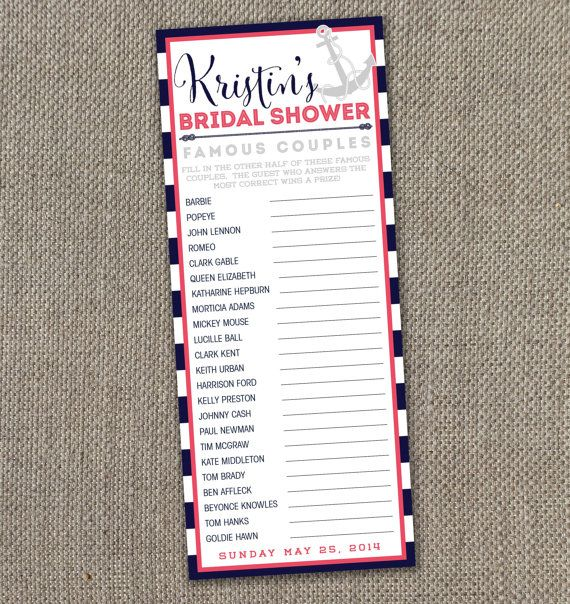 Nautical bridal shower famous couples game digital file for Non traditional bridal shower games