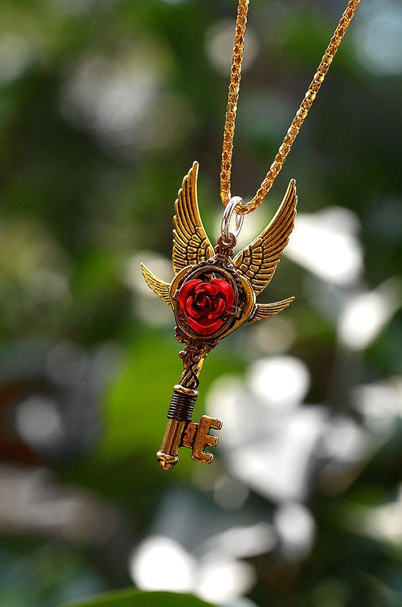 Red Rose Gold Key Necklace - 198