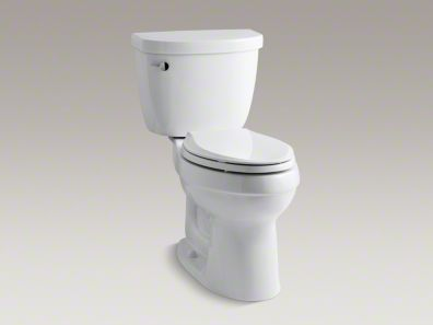 Upstairs Bathroom - Kohler Cimarron® Comfort Height® two-piece elongated 1.6 gpf toilet with left-hand trip lever, less seat