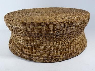 Wollen Round Coffee Table Hourglass Shape Made Of Woven Seagrass