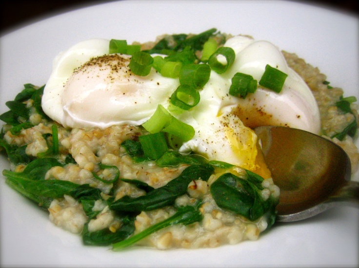 Steel Cut Oats with Spinach & Poached Eggs