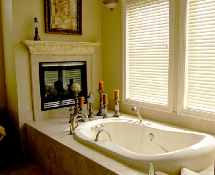 Bathroom with fireplace for the home pinterest for Bathrooms with fireplaces