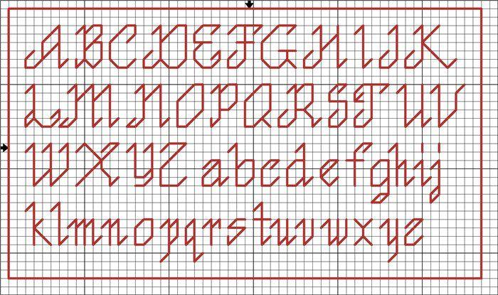 patrón de alfabeto para bordar