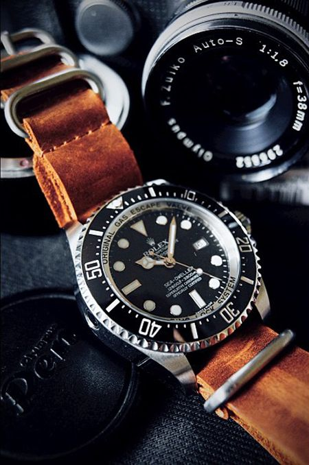 rolex with leather straps. nice.